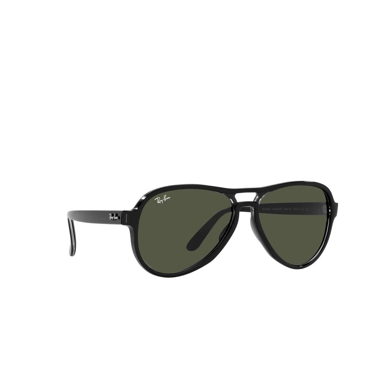 Ray-Ban® Aviator Sunglasses: Vagabond RB4355 color Black Transparent 654531 - three-quarters view.