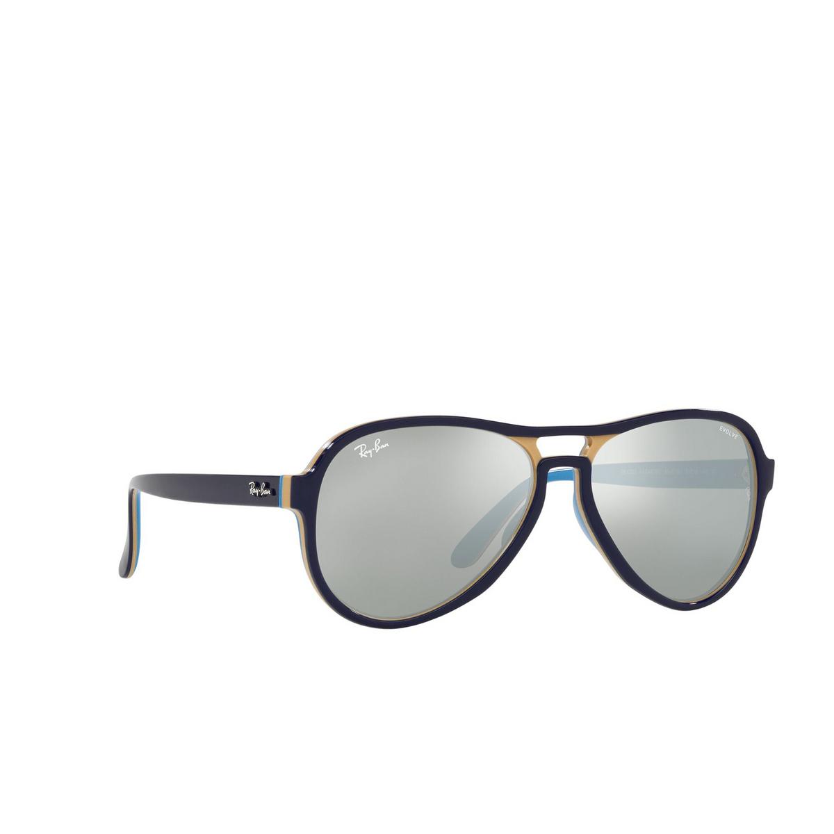 Ray-Ban® Aviator Sunglasses: Vagabond RB4355 color Blue Creamy Light Blue 6546W3 - three-quarters view.
