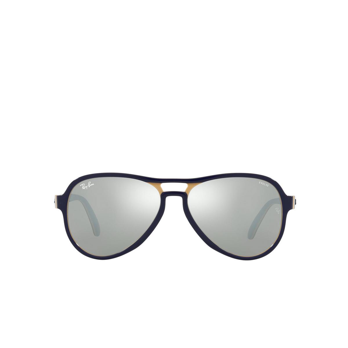 Ray-Ban® Aviator Sunglasses: Vagabond RB4355 color Blue Creamy Light Blue 6546W3 - front view.