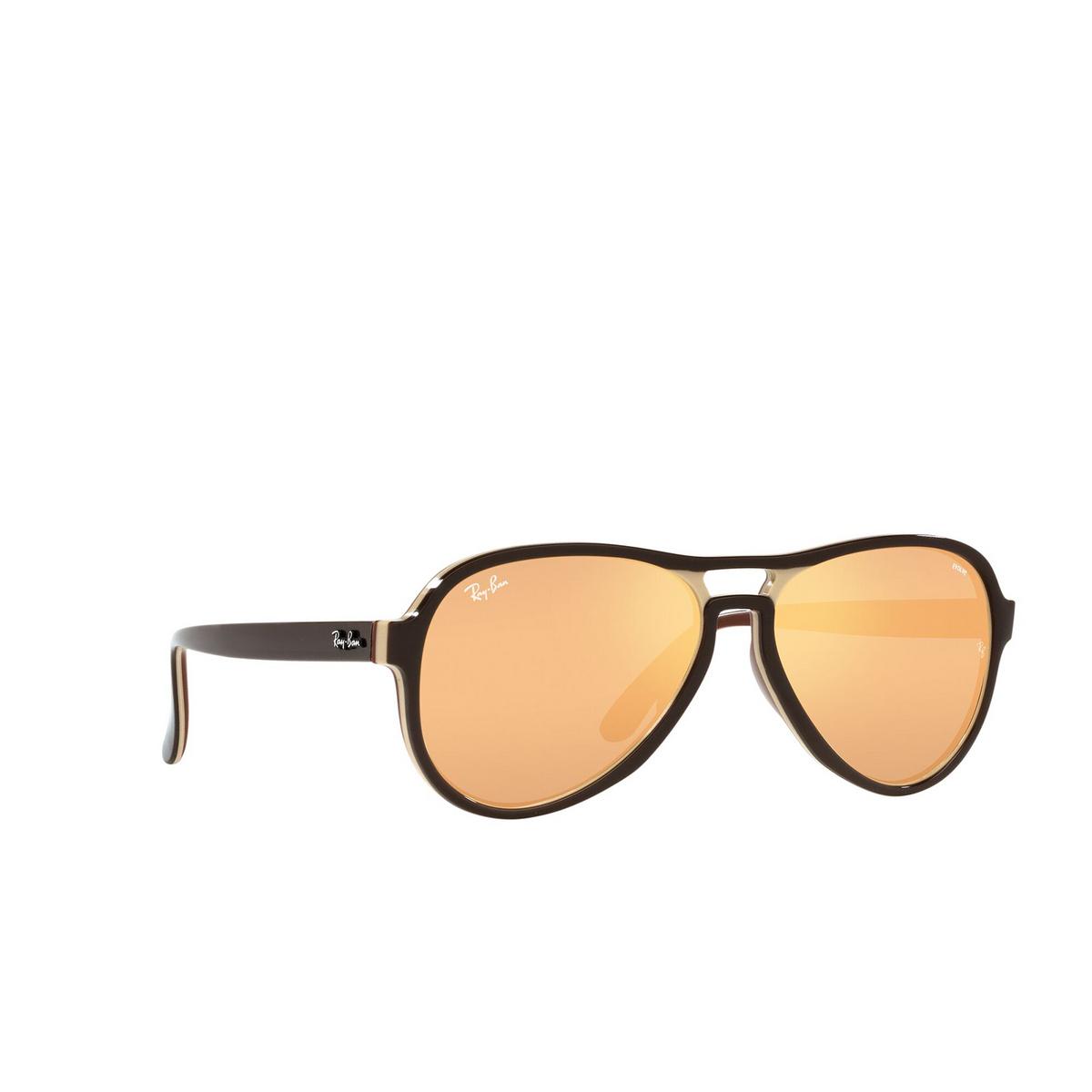 Ray-Ban® Aviator Sunglasses: Vagabond RB4355 color Dark Brown Light Brown 6547B4 - three-quarters view.