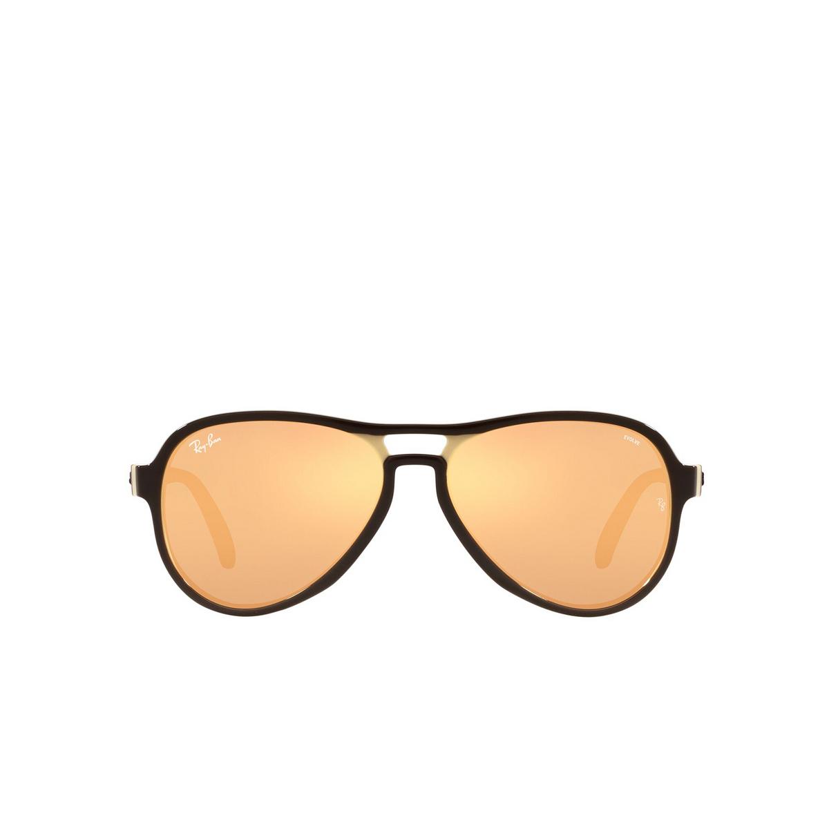 Ray-Ban® Aviator Sunglasses: Vagabond RB4355 color Dark Brown Light Brown 6547B4 - front view.