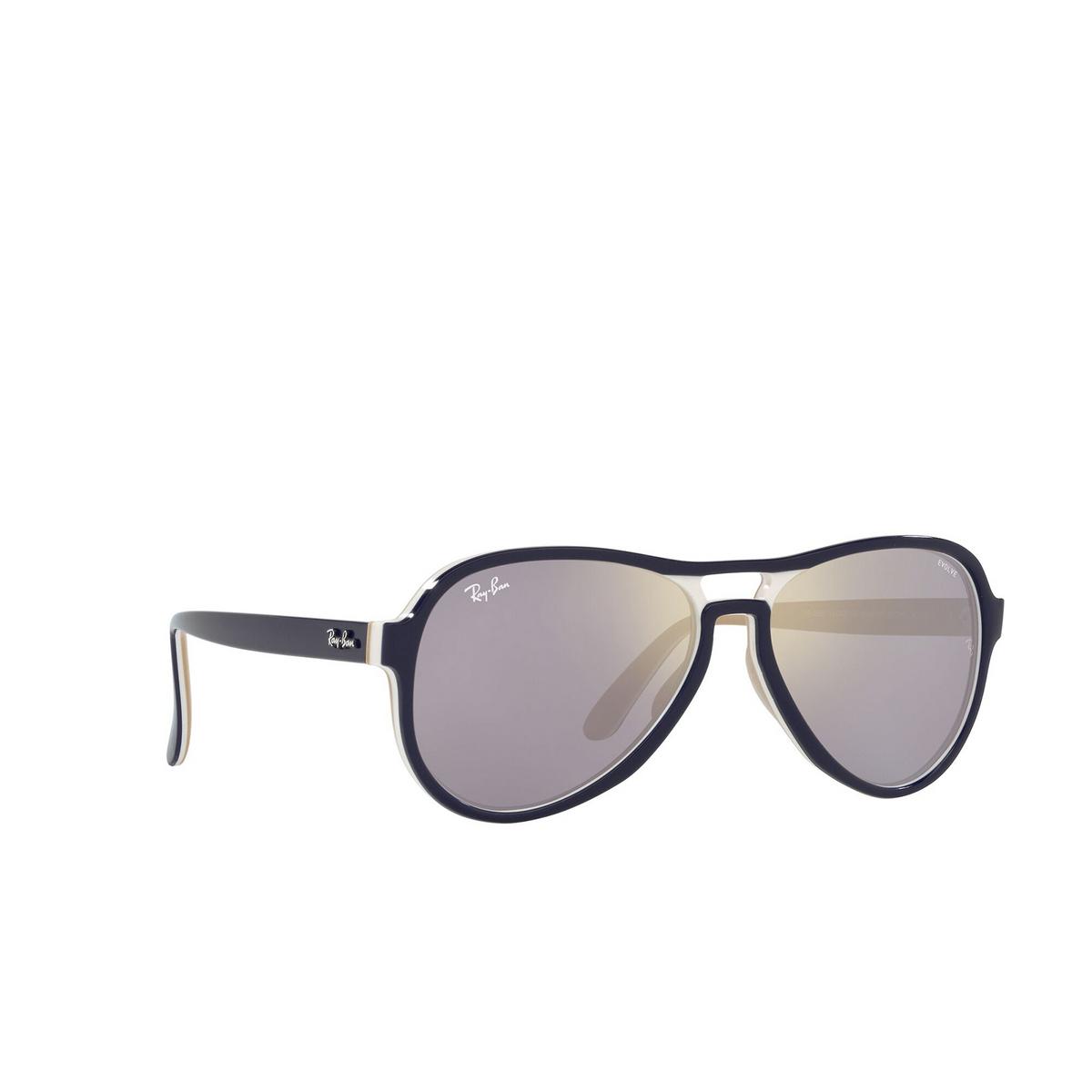 Ray-Ban® Aviator Sunglasses: Vagabond RB4355 color Blue Creamy Light Brown 6548B3 - three-quarters view.