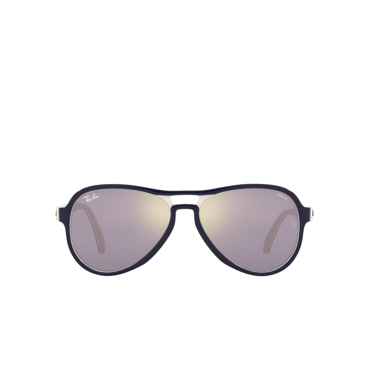 Ray-Ban® Aviator Sunglasses: Vagabond RB4355 color Blue Creamy Light Brown 6548B3 - front view.
