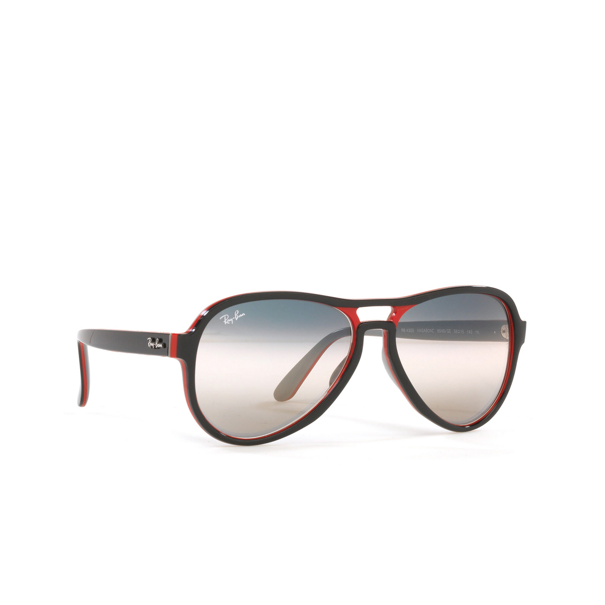 Ray-Ban® Aviator Sunglasses: Vagabond RB4355 color Black Red Light Grey 6549GE - three-quarters view.