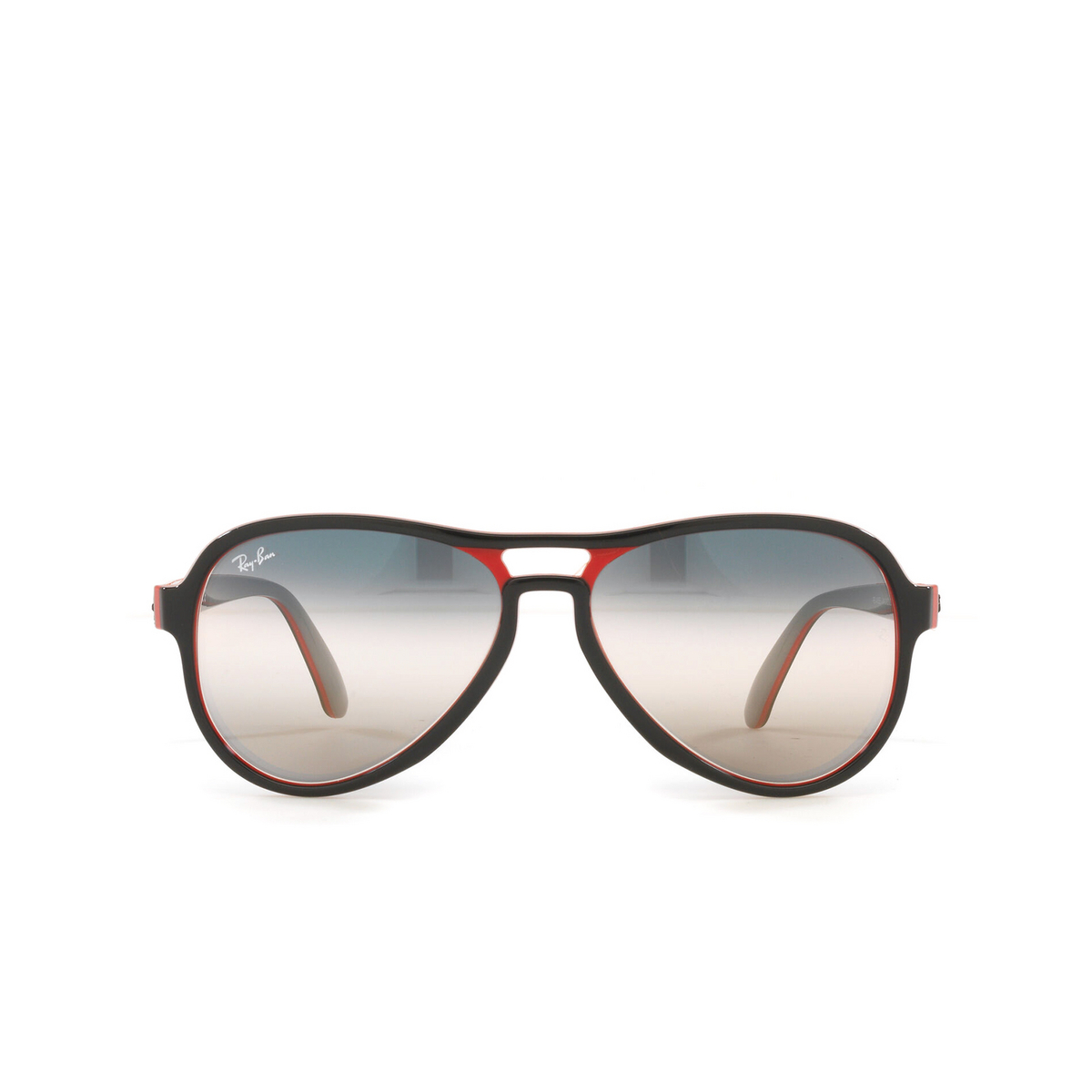 Ray-Ban® Aviator Sunglasses: Vagabond RB4355 color Black Red Light Grey 6549GE - front view.