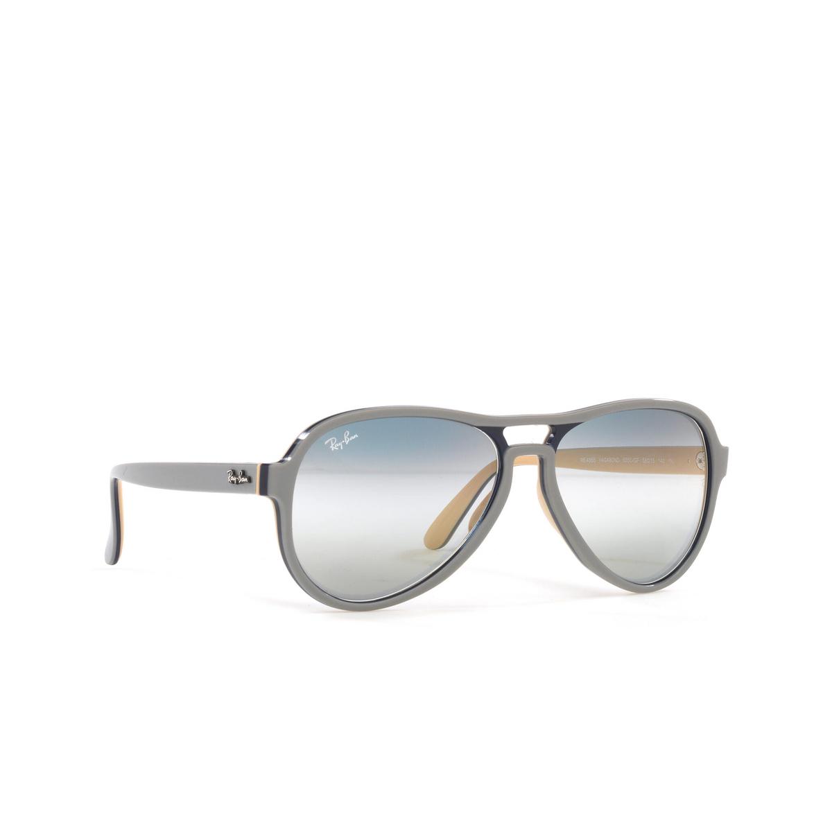 Ray-Ban® Aviator Sunglasses: Vagabond RB4355 color Light Grey Blue Light Brown 6550GF - three-quarters view.