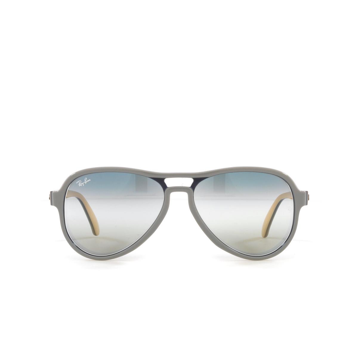 Ray-Ban® Aviator Sunglasses: Vagabond RB4355 color Light Grey Blue Light Brown 6550GF - front view.