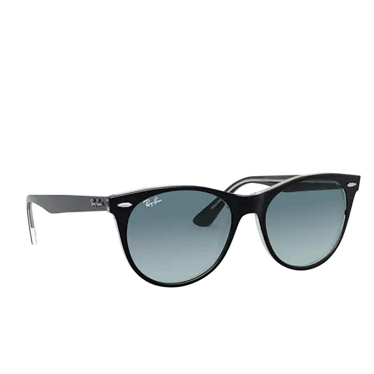 Ray-Ban® Round Sunglasses: Wayfarer Ii RB2185 color Black On Transparent 12943M - three-quarters view.