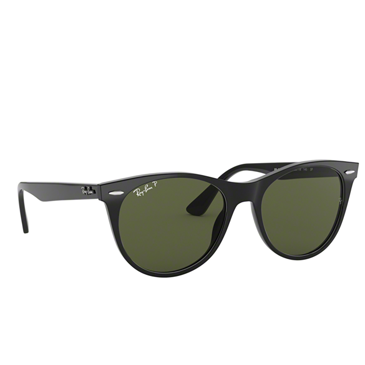 Ray-Ban® Square Sunglasses: Wayfarer Ii RB2185 color Black 901/58 - three-quarters view.