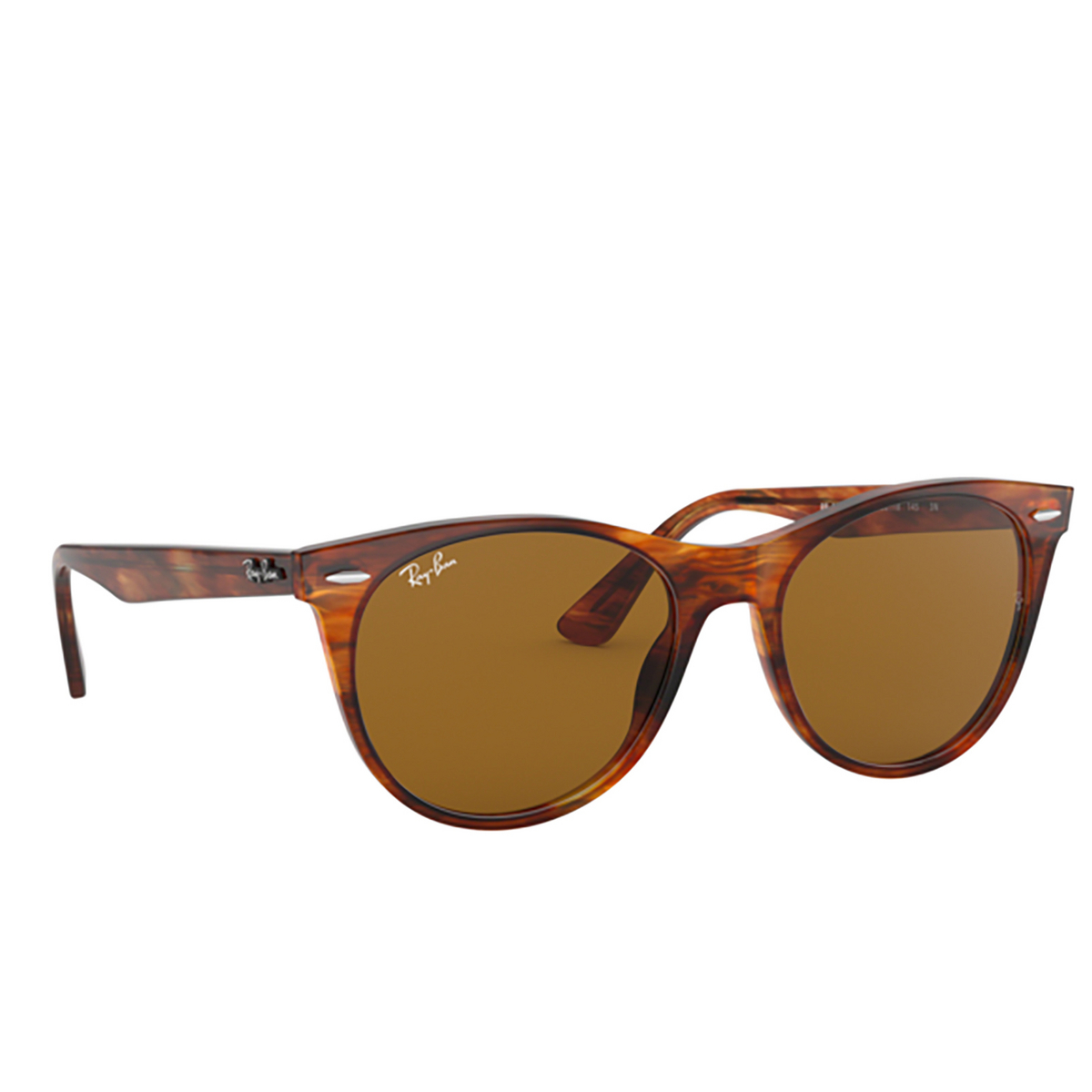 Ray-Ban® Square Sunglasses: Wayfarer Ii RB2185 color Striped Havana 954/33 - three-quarters view.