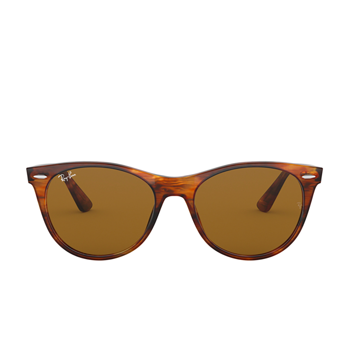 Ray-Ban® Square Sunglasses: Wayfarer Ii RB2185 color Striped Havana 954/33 - front view.