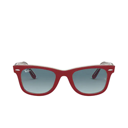 Ray-Ban® Square Sunglasses: Wayfarer RB2140 color Red On Transparent Grey 12963M.