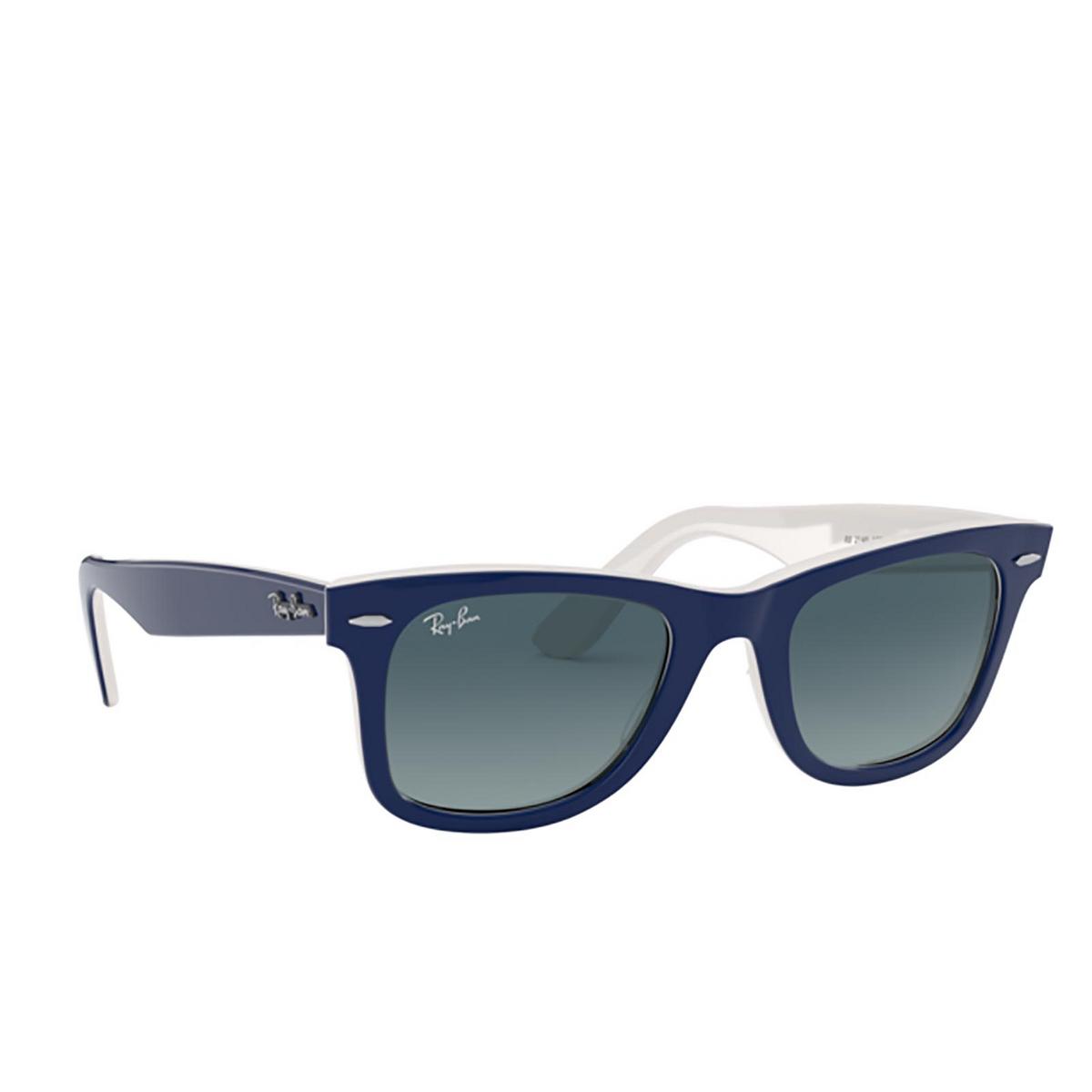 Ray-Ban® Square Sunglasses: Wayfarer RB2140 color Blue On White 12993M.