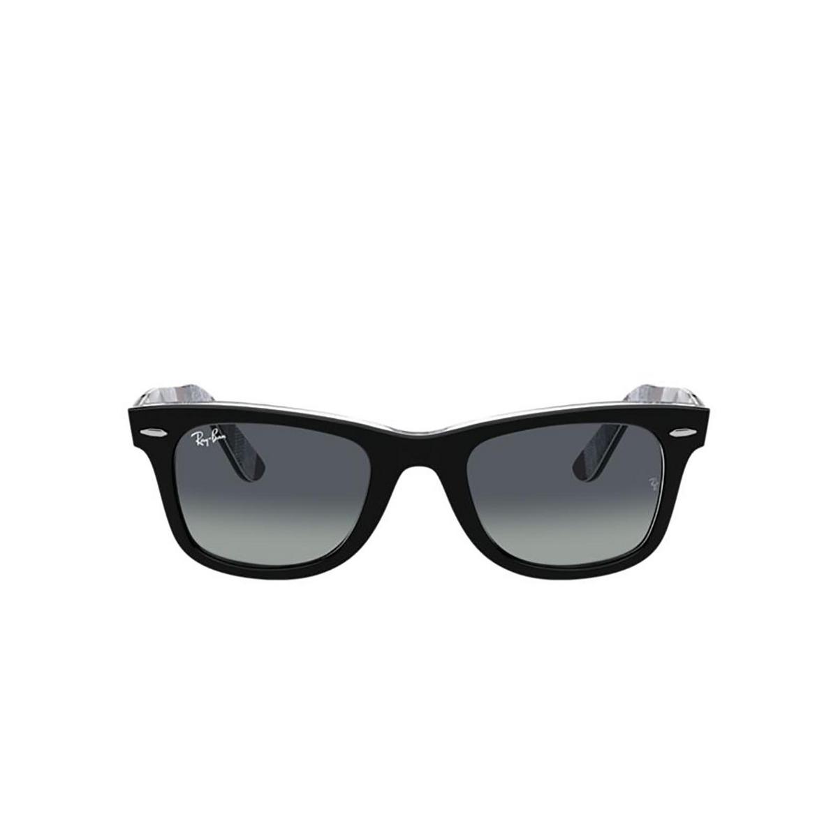 Ray-Ban® Square Sunglasses: Wayfarer RB2140 color Black On Chevron Grey / Burgundy 13183A.