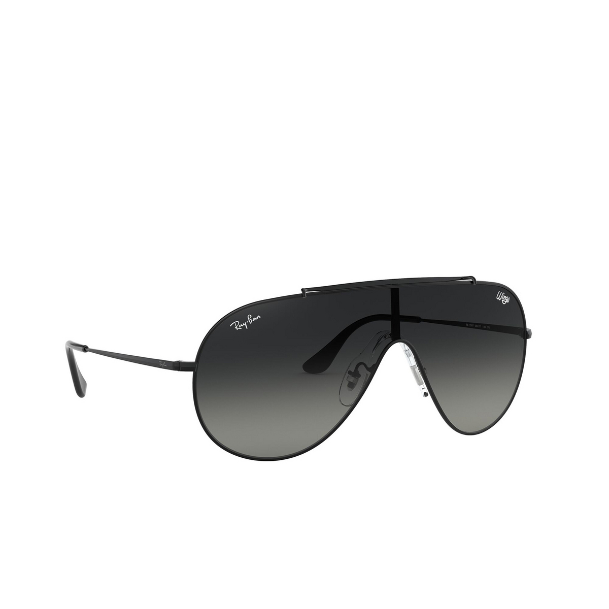 Ray-Ban® Aviator Sunglasses: Wings RB3597 color Black 002/11 - three-quarters view.