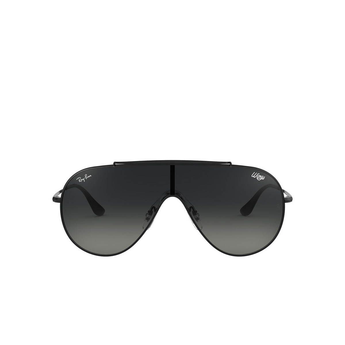 Ray-Ban® Aviator Sunglasses: Wings RB3597 color Black 002/11 - front view.