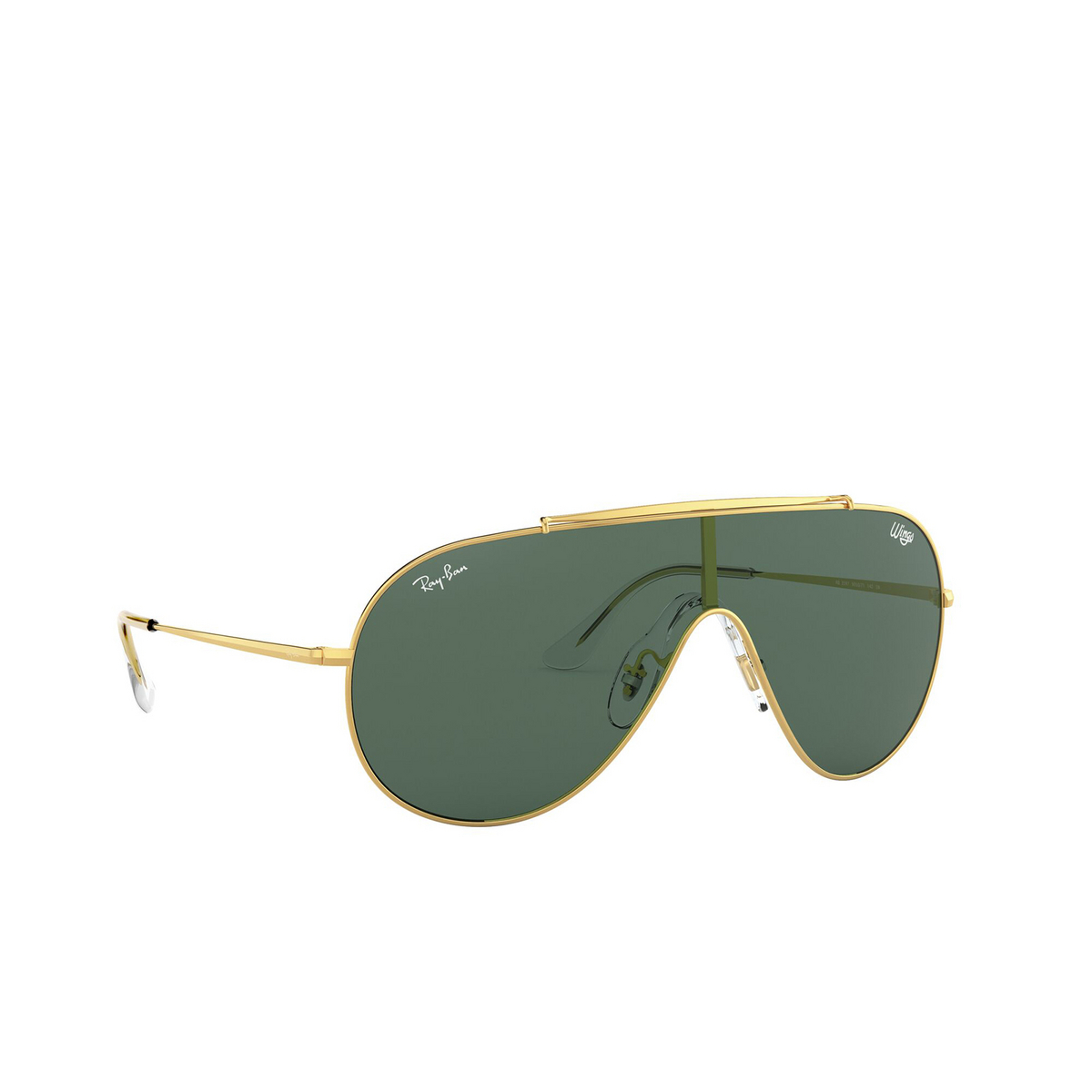Ray-Ban® Aviator Sunglasses: Wings RB3597 color Gold 905071 - three-quarters view.