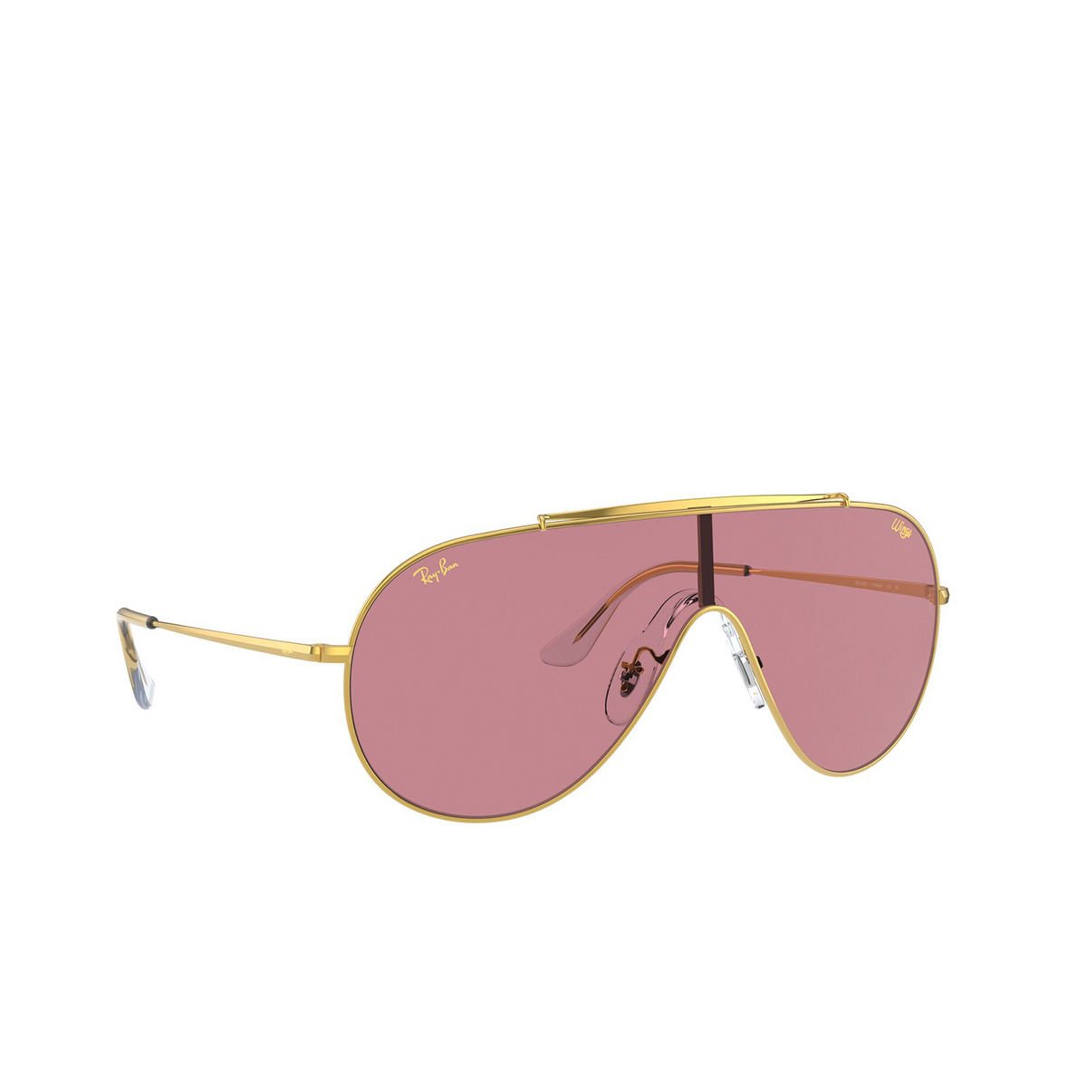 Ray-Ban® Aviator Sunglasses: Wings RB3597 color Legend Gold 919684 - three-quarters view.