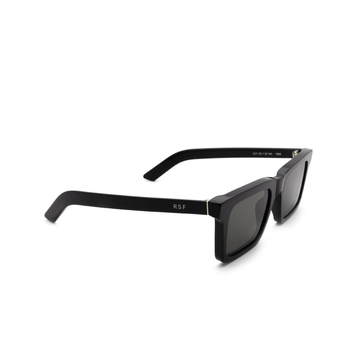 Retrosuperfuture® Rectangle Sunglasses: 1968 color Black UU1 - three-quarters view.