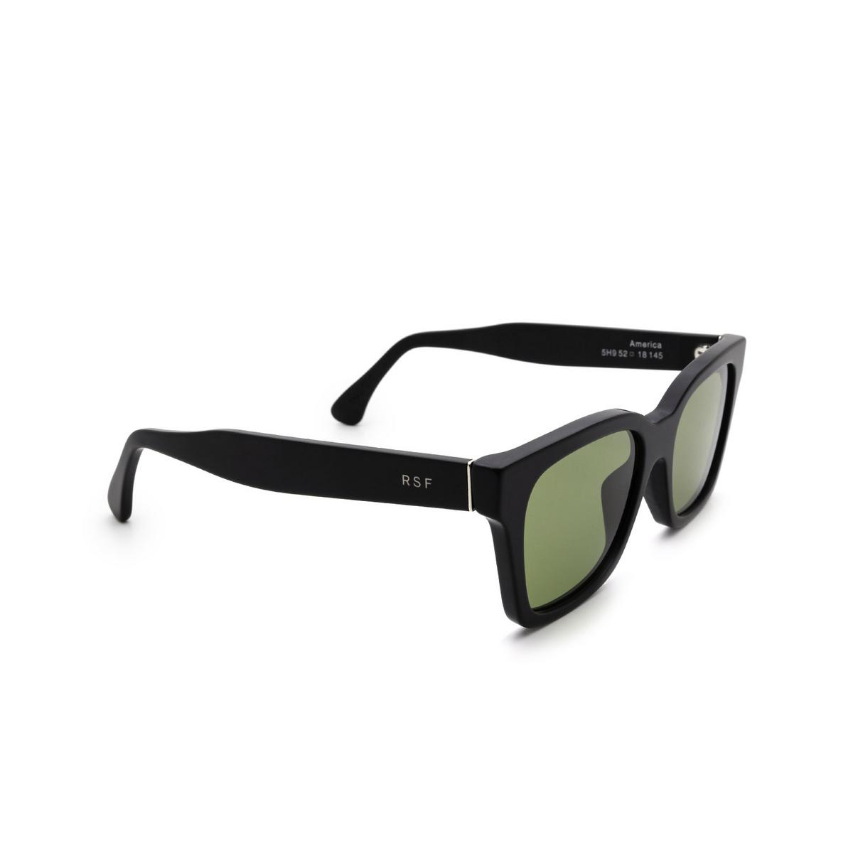 Retrosuperfuture® Square Sunglasses: America color Black Matte 5H9 - three-quarters view.