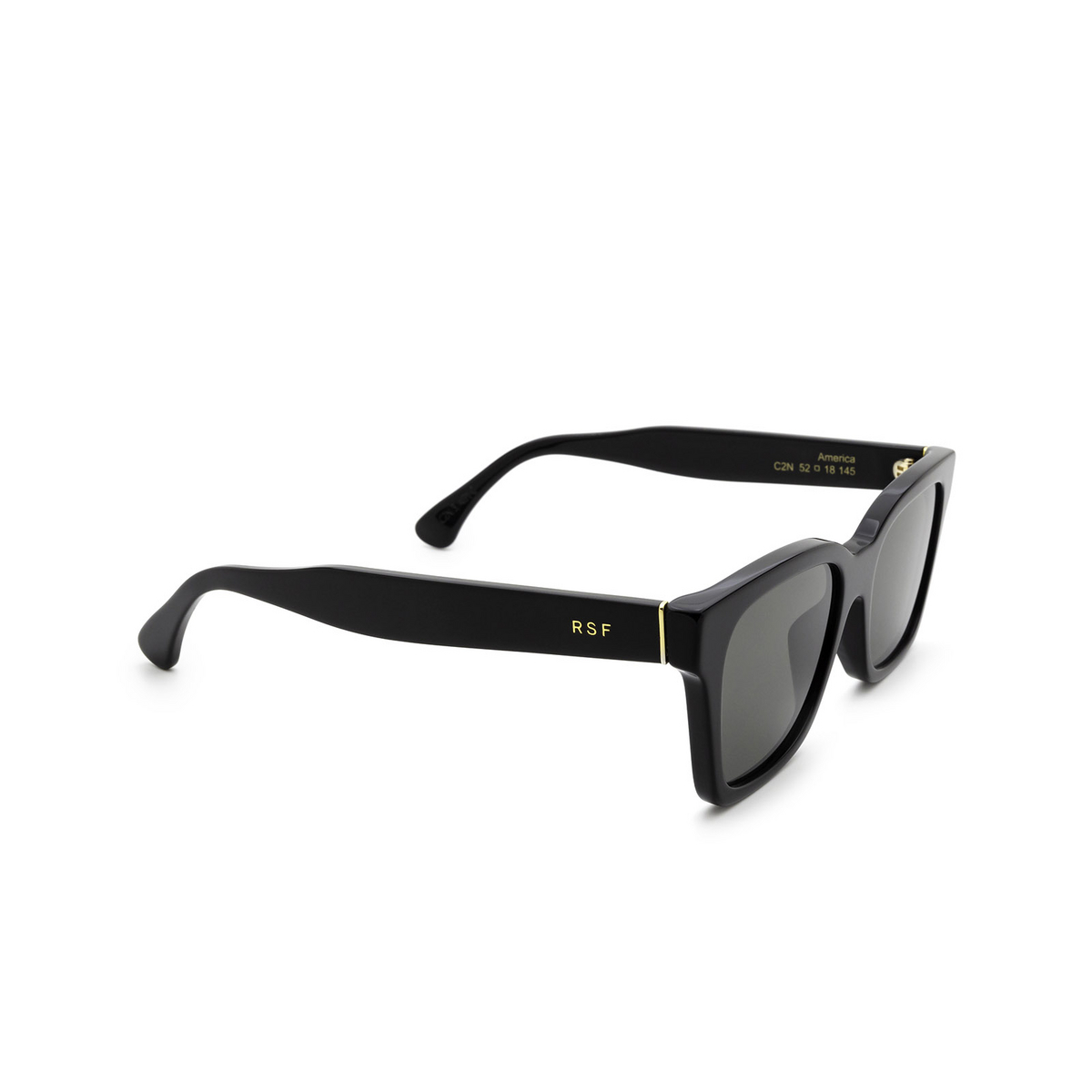 Retrosuperfuture® Square Sunglasses: America color Black C2N - three-quarters view.