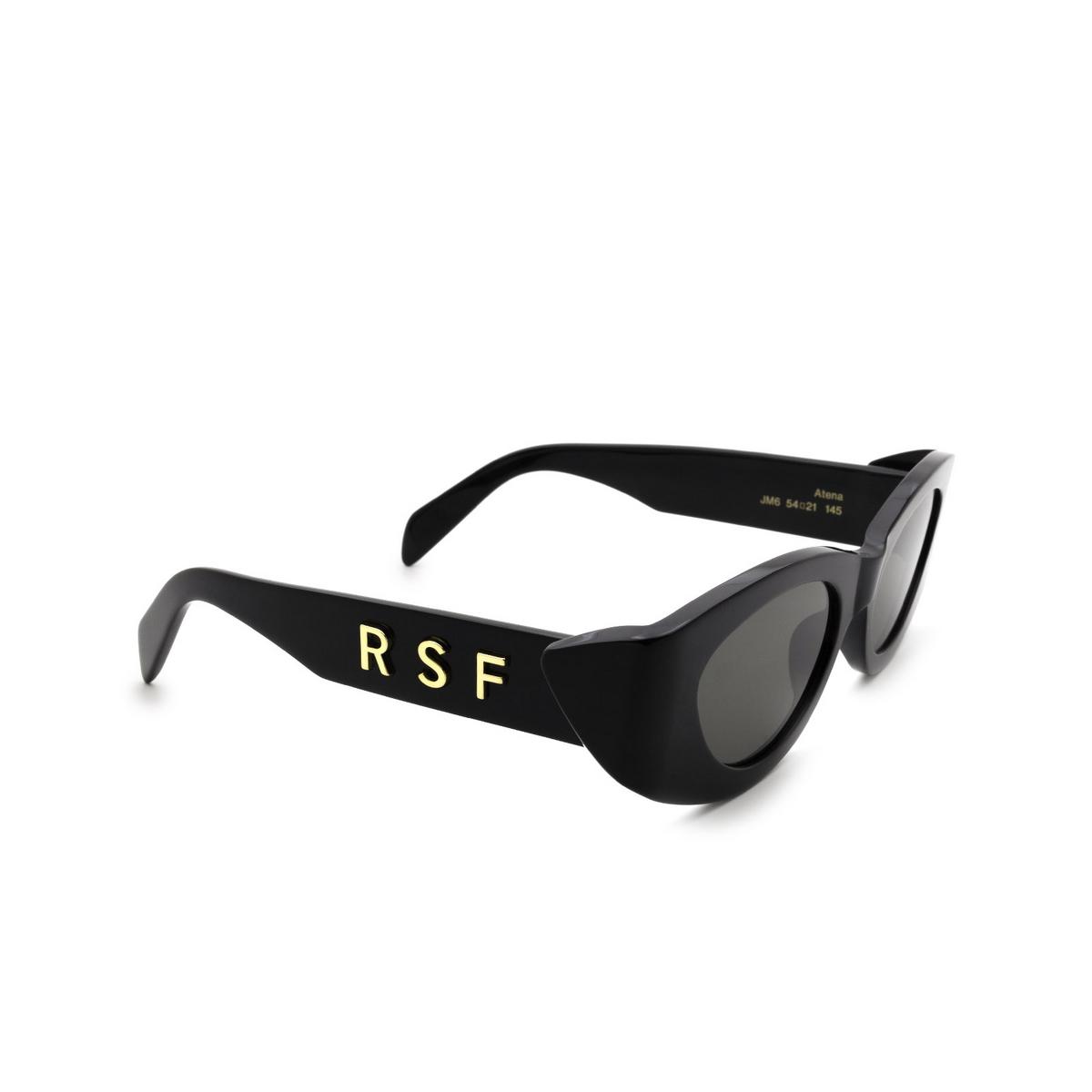 Retrosuperfuture® Oval Sunglasses: Atena color Black JM6 - three-quarters view.