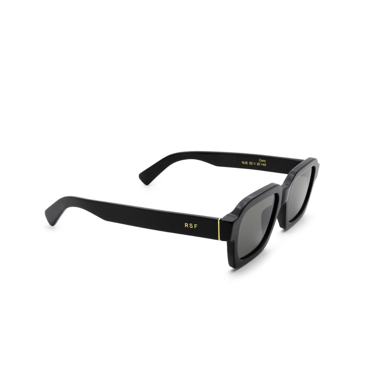Retrosuperfuture® Rectangle Sunglasses: Caro color Black Njs - three-quarters view.