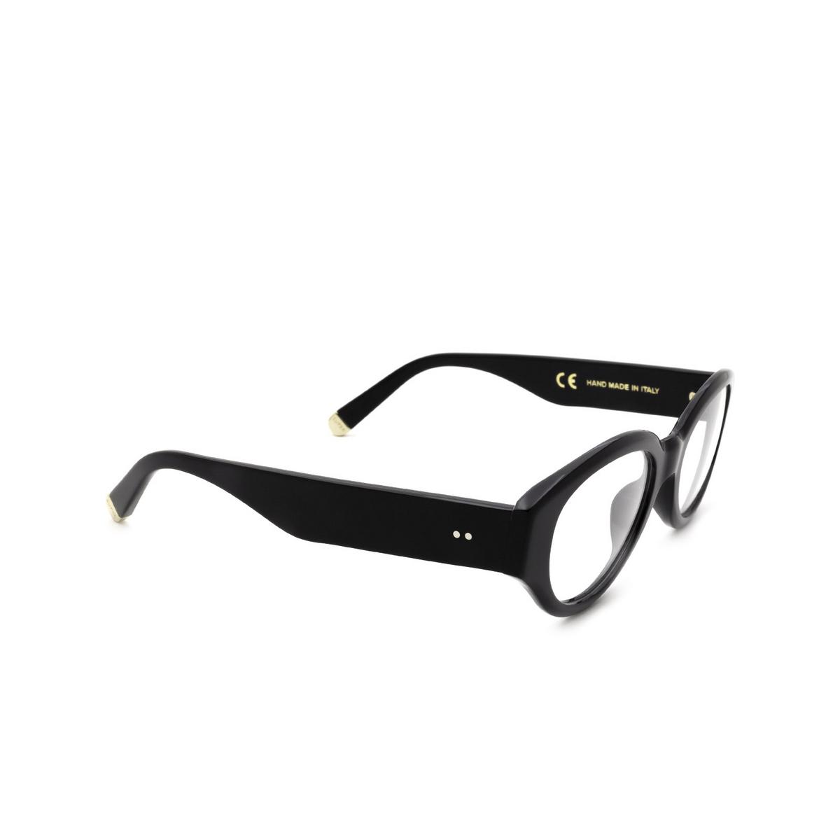 Retrosuperfuture® Oval Eyeglasses: Drew Mama Optical color Nero QL4 - three-quarters view.