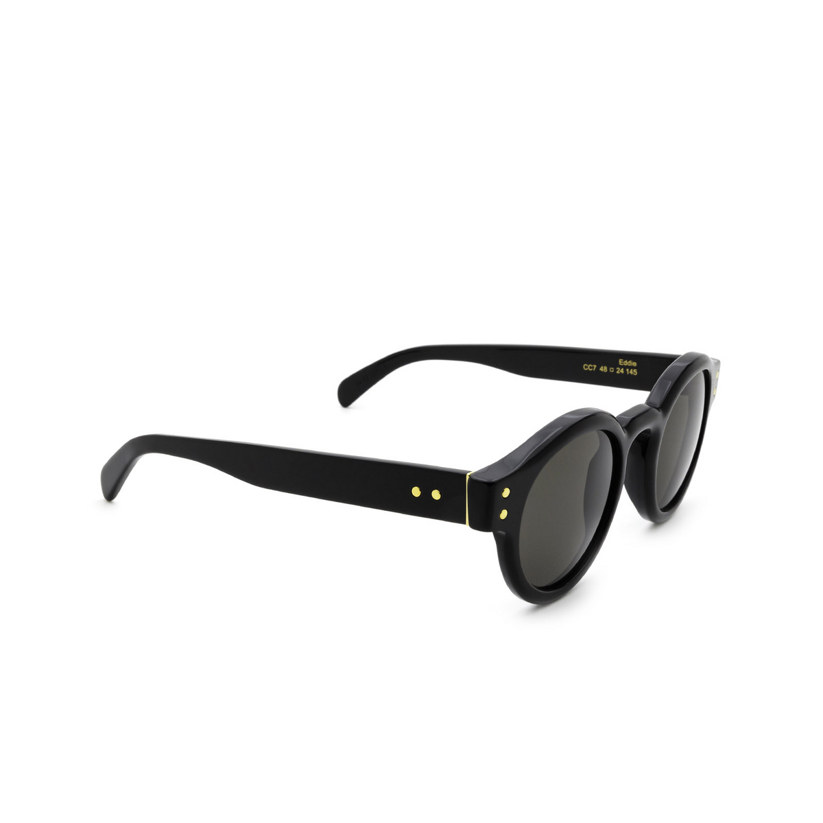 Retrosuperfuture® Round Sunglasses: Eddie color Black CC7 - three-quarters view.