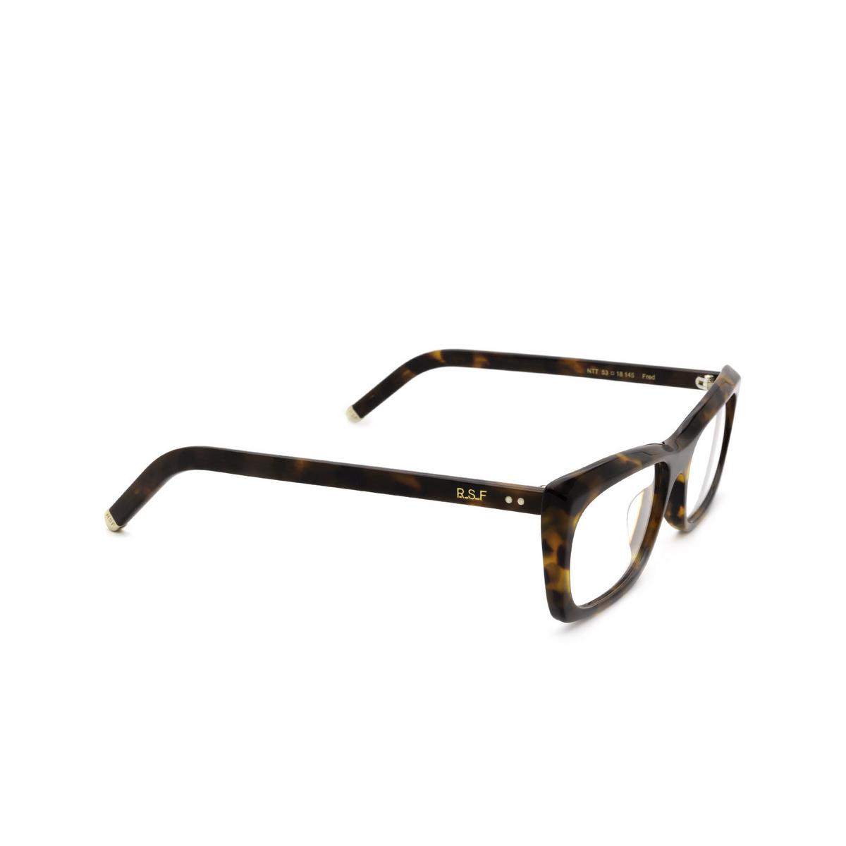 Retrosuperfuture® Rectangle Eyeglasses: Fred Optical color Classic Havana Ntt - three-quarters view.