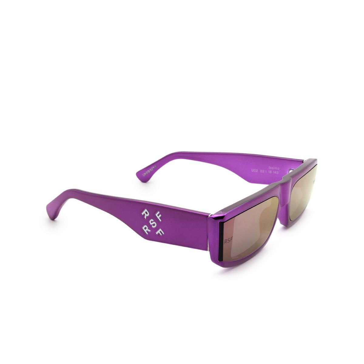 Retrosuperfuture® Rectangle Sunglasses: Issimo color Chrome Fuxia U02 - three-quarters view.