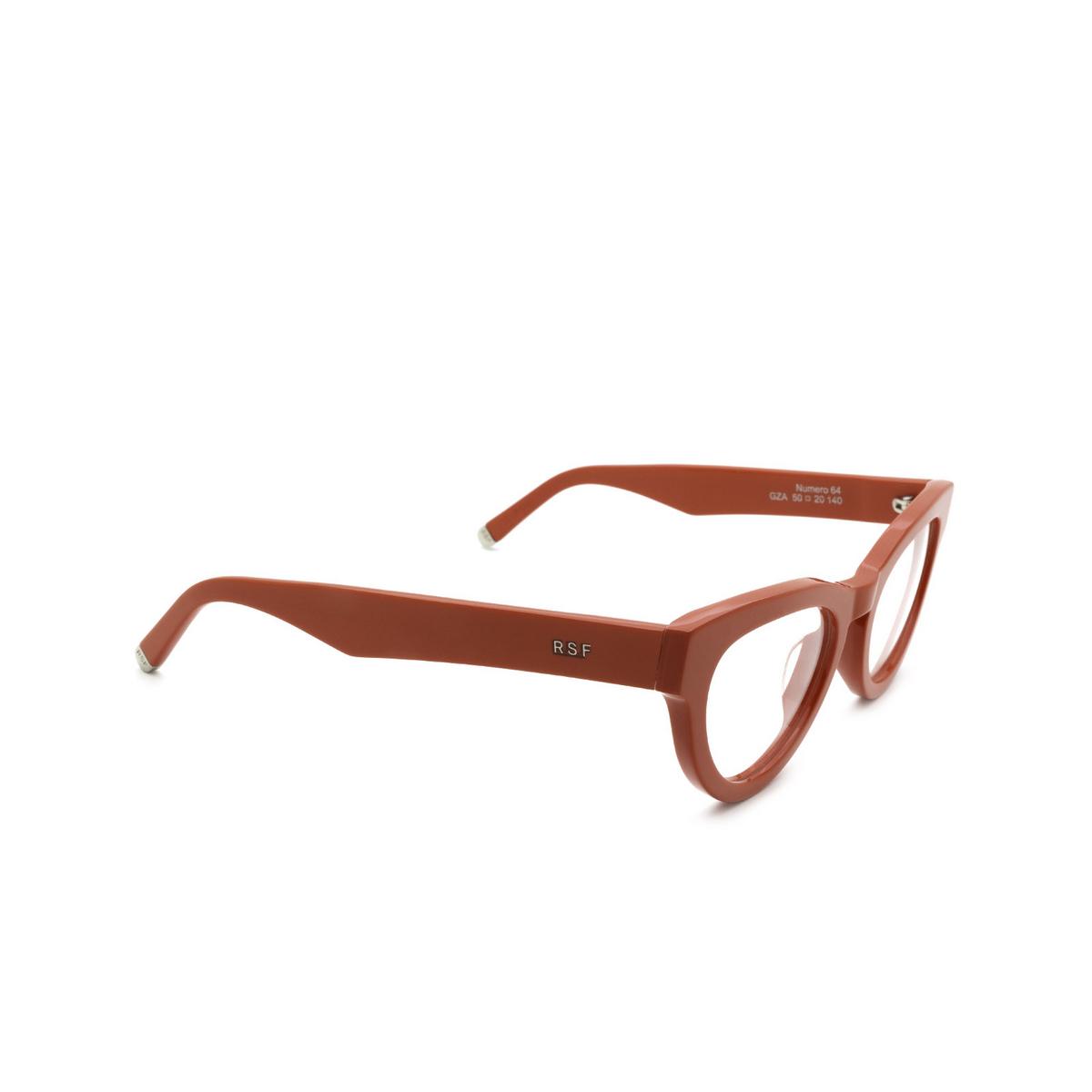 Retrosuperfuture® Cat-eye Eyeglasses: NUMERO 64 color Rosso Gza - three-quarters view.
