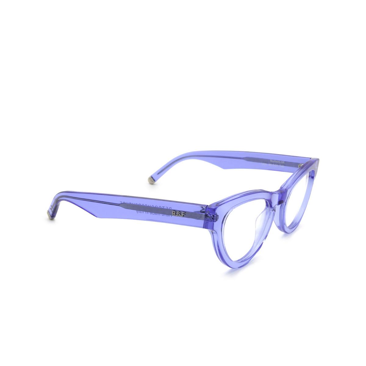 Retrosuperfuture® Cat-eye Eyeglasses: NUMERO 64 color Crystal Celeste U3A - three-quarters view.
