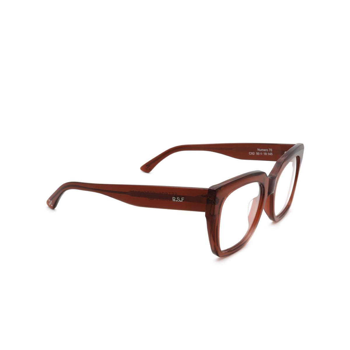 Retrosuperfuture® Square Eyeglasses: NUMERO 76 color Rosso Profondo CX2 - three-quarters view.