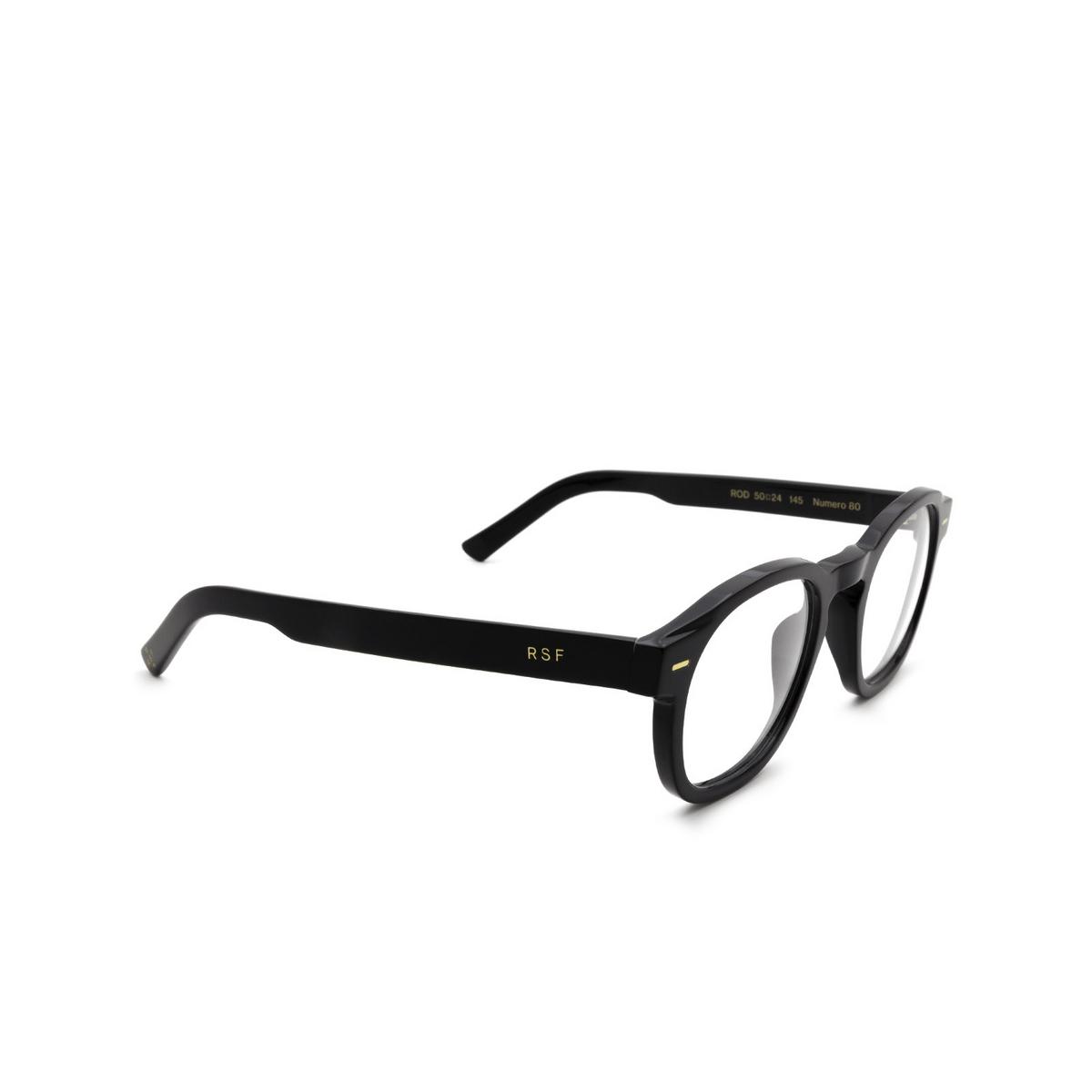 Retrosuperfuture® Square Eyeglasses: NUMERO 80 color Nero Rod - three-quarters view.