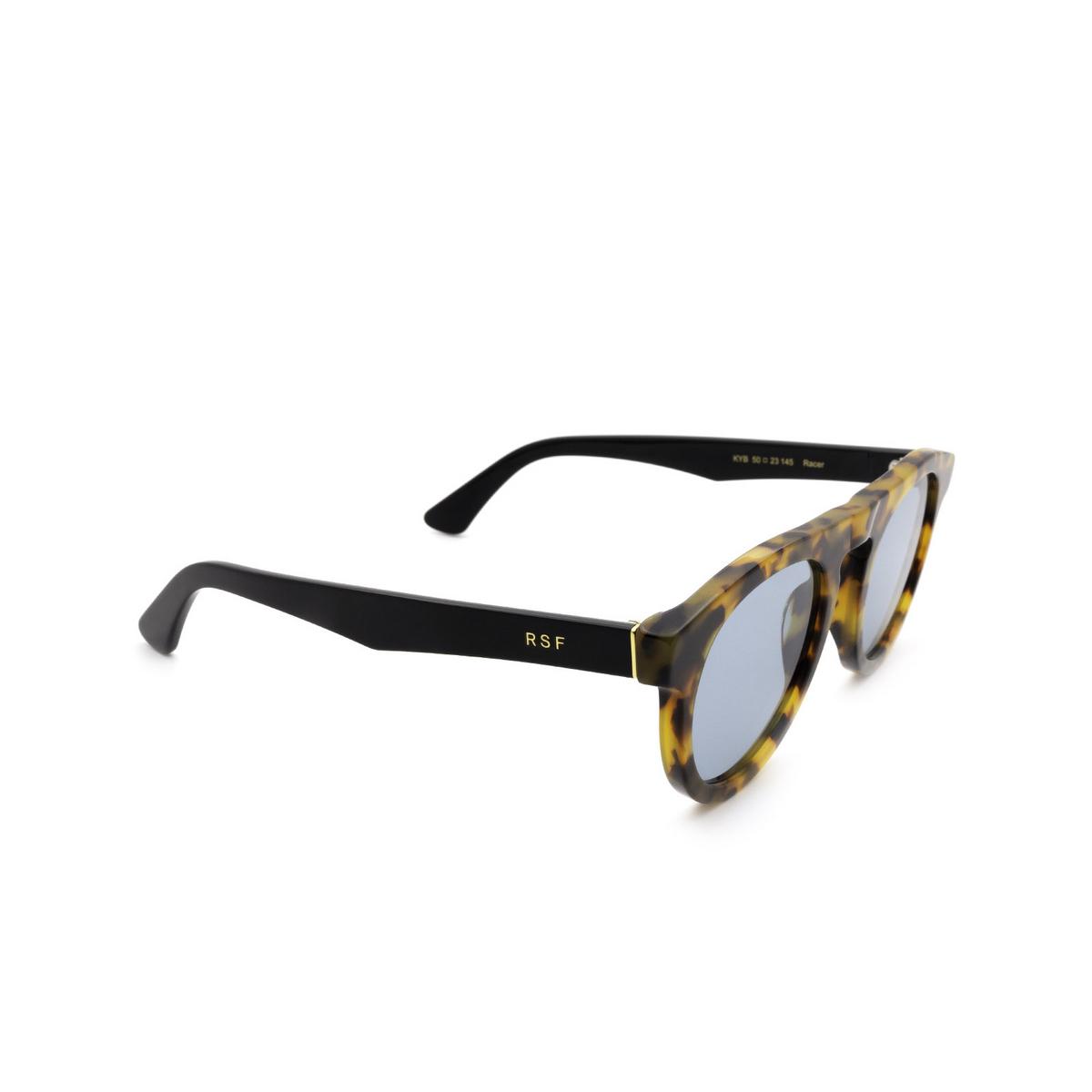 Retrosuperfuture® Round Sunglasses: Racer color Espresso Kyb - three-quarters view.
