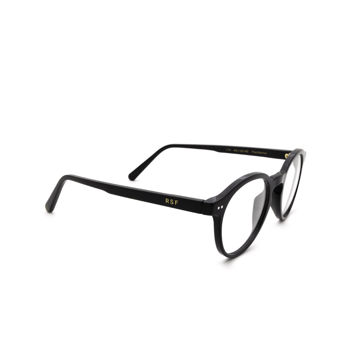 Retrosuperfuture® Round Eyeglasses: The Warhol Optical color Nero IT4 - three-quarters view.