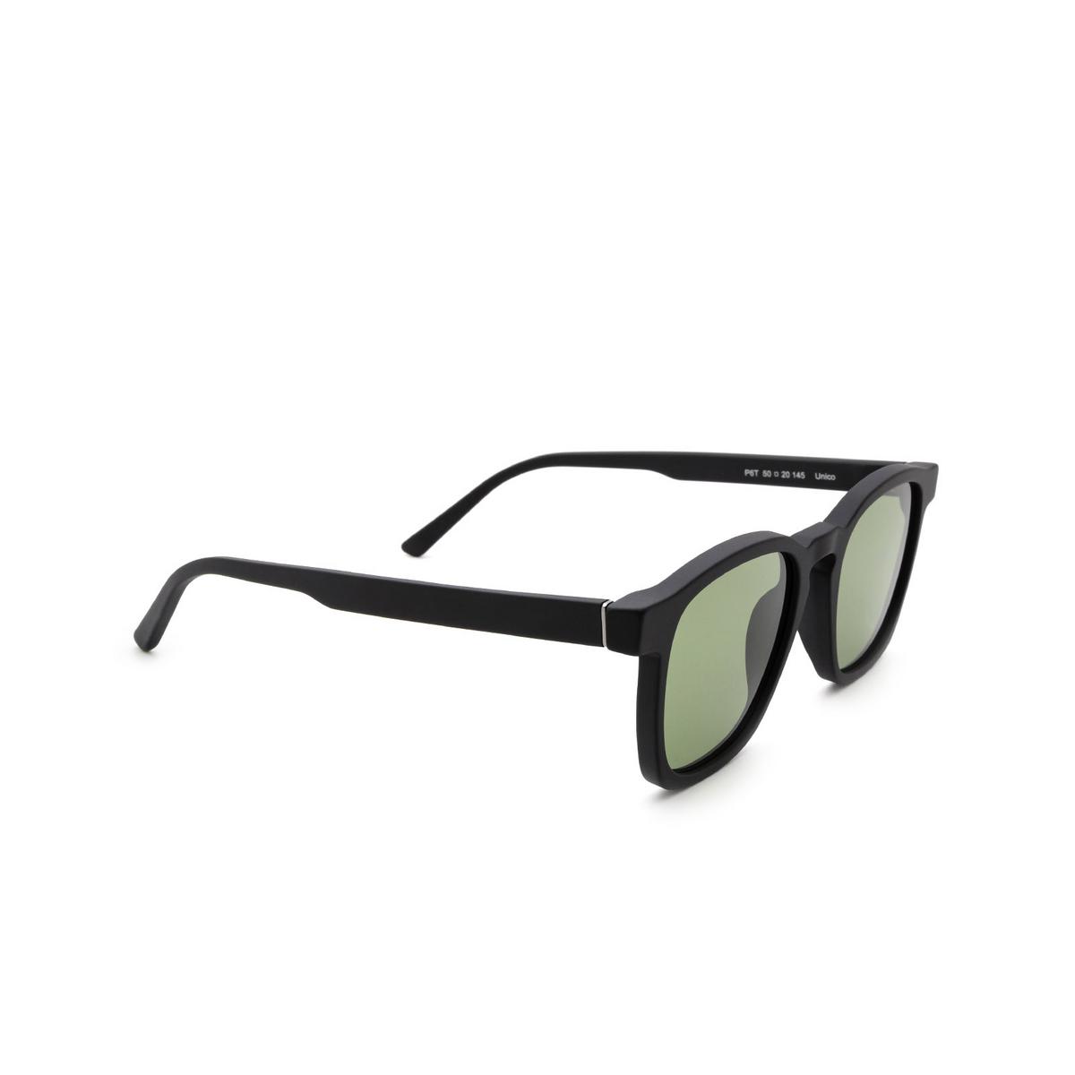 Retrosuperfuture® Square Sunglasses: Unico color Black Matte P6T - three-quarters view.