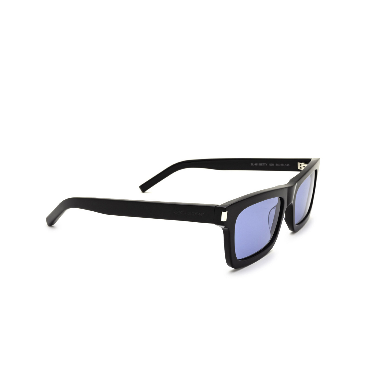 Saint Laurent® Rectangle Sunglasses: Betty SL 461 color Black 009 - three-quarters view.