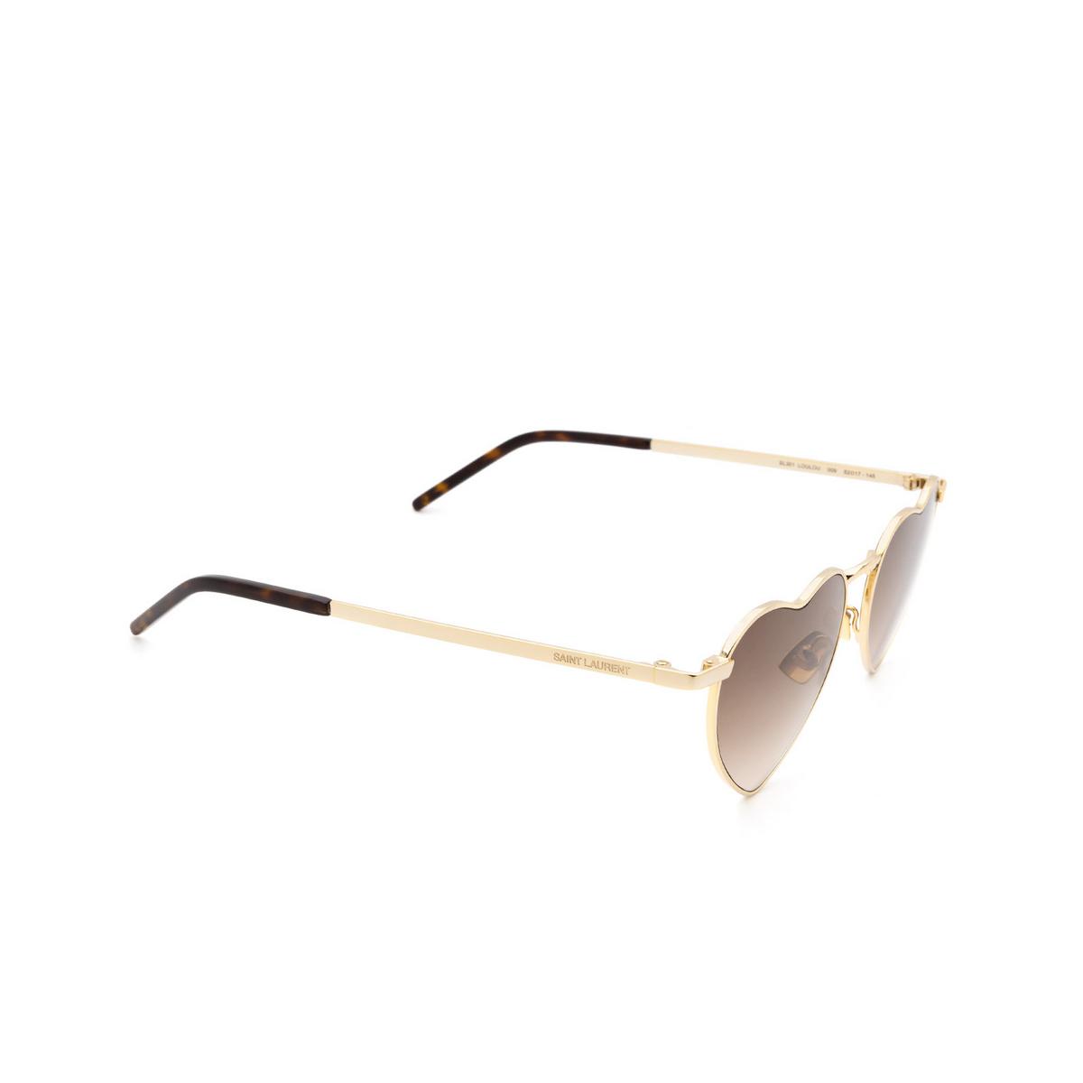 Saint Laurent® Irregular Sunglasses: Loulou SL 301 color Gold 009 - three-quarters view.