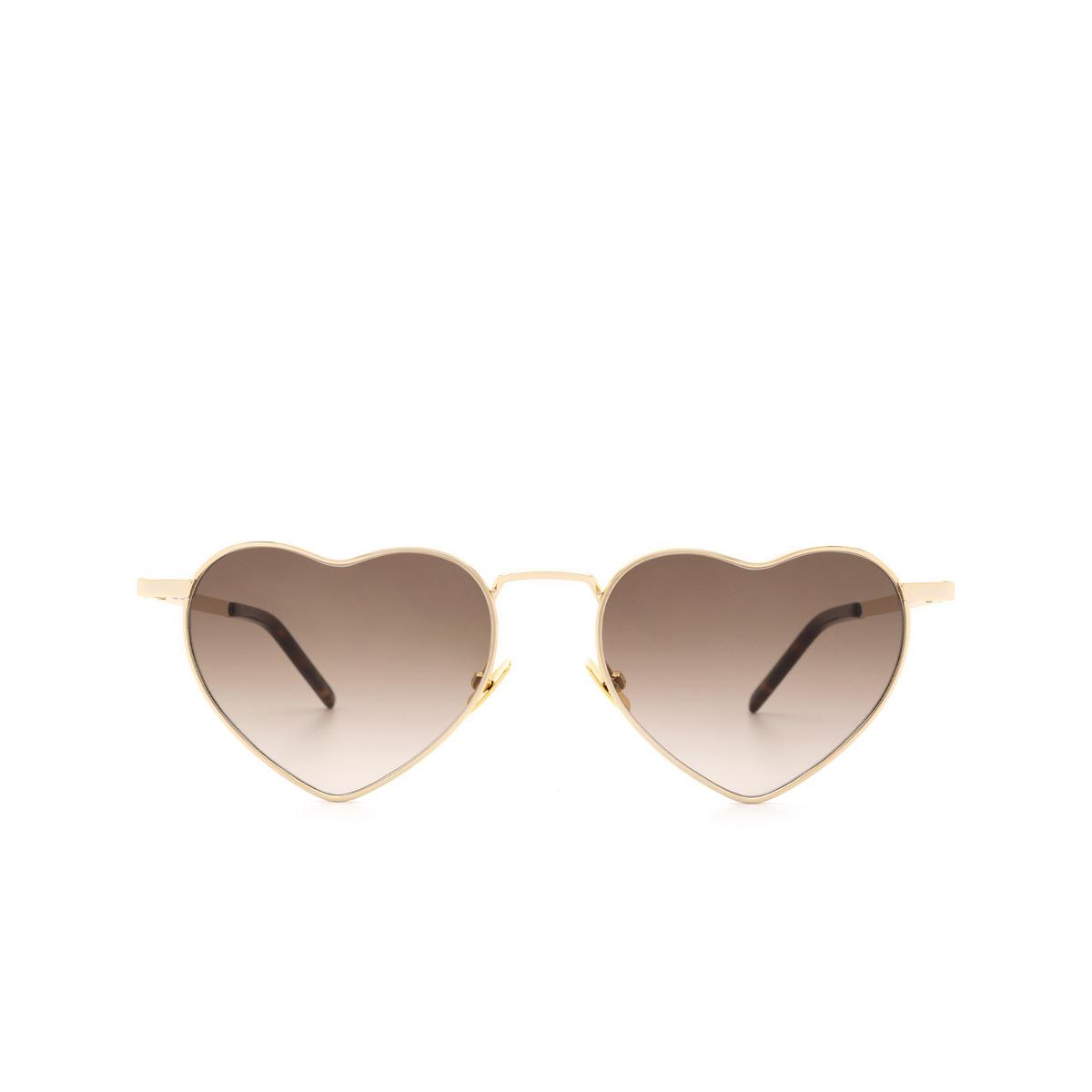 Saint Laurent® Irregular Sunglasses: Loulou SL 301 color Gold 009 - front view.