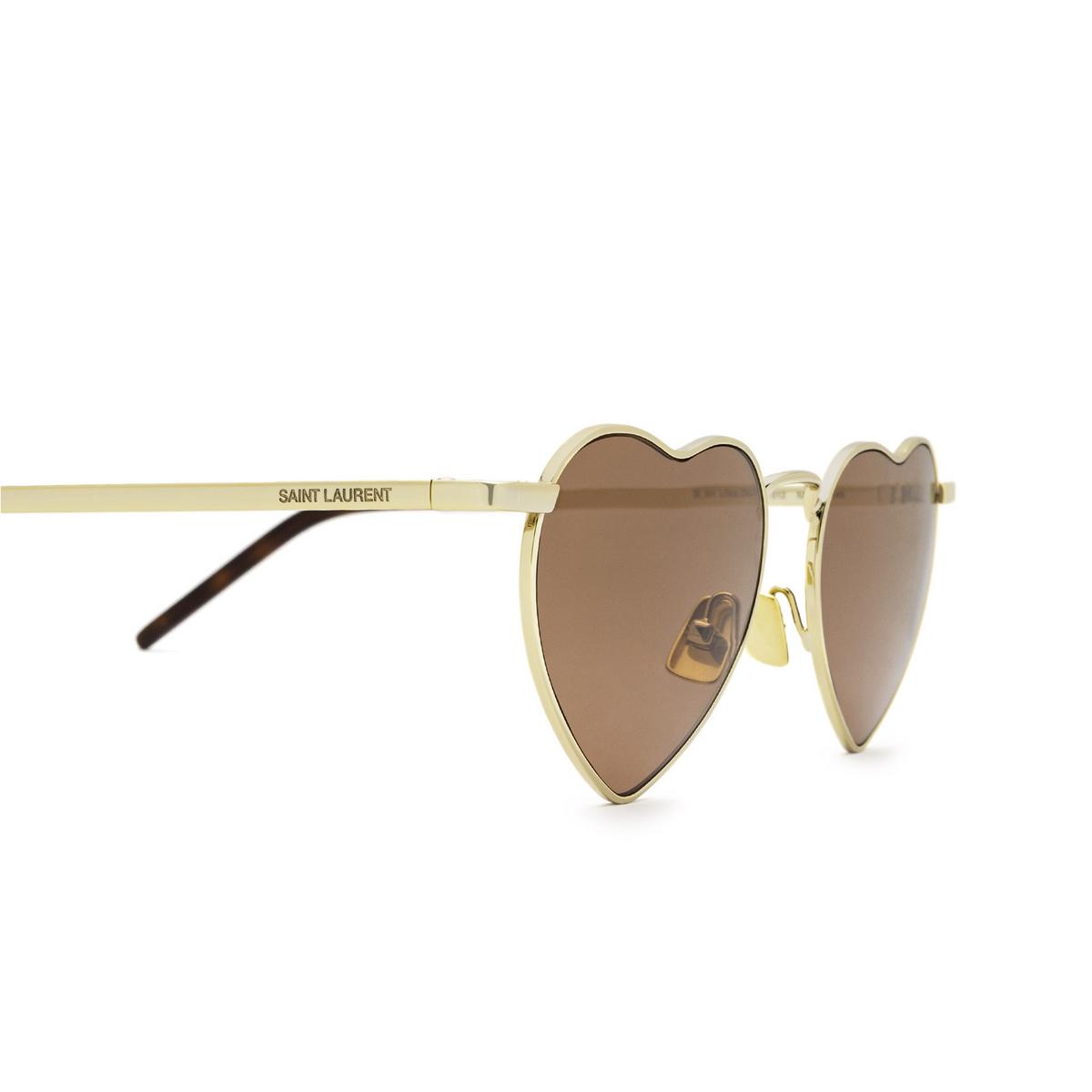 Saint Laurent® Irregular Sunglasses: Loulou SL 301 color Gold 012 - 3/3.