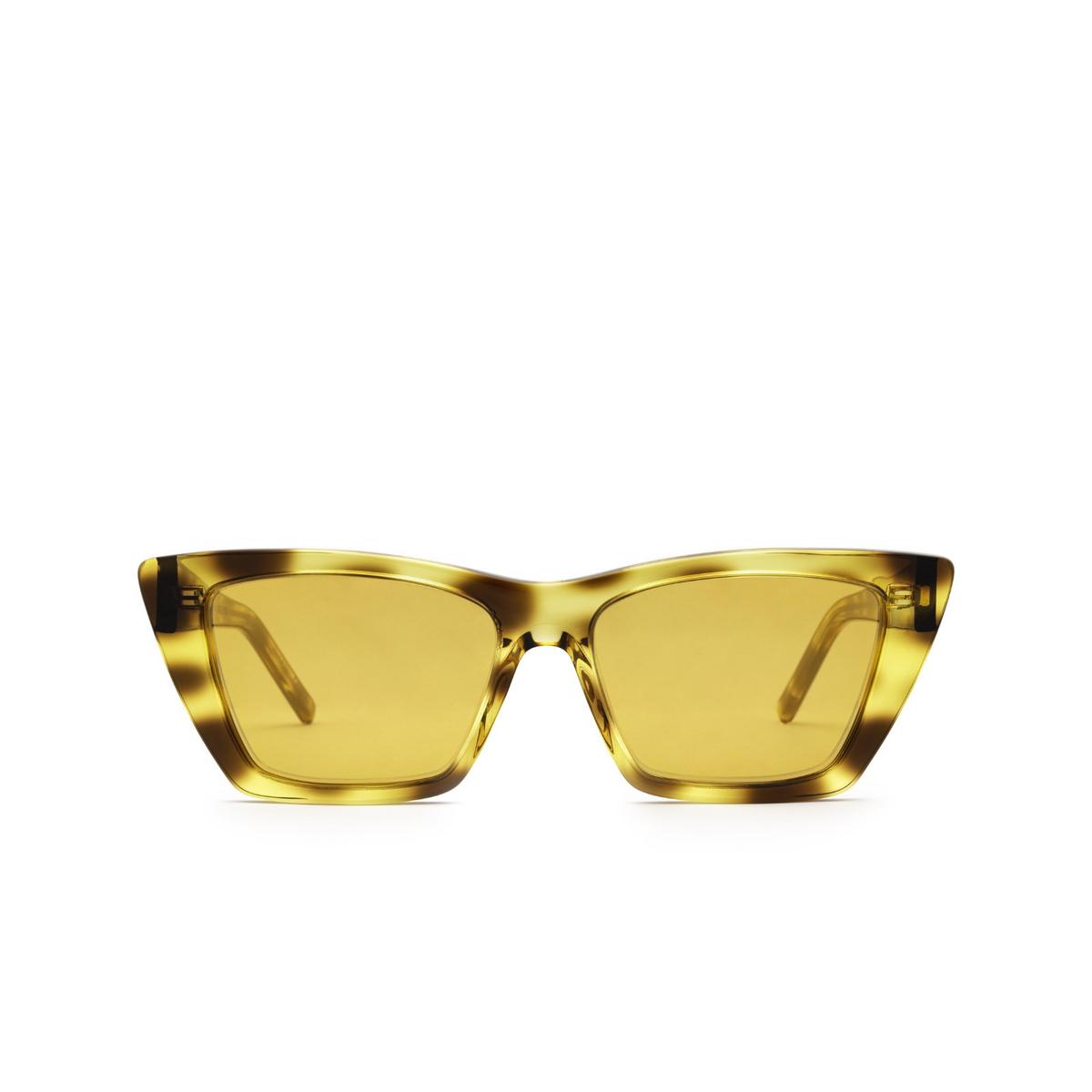 Saint Laurent® Cat-eye Sunglasses: Mica SL 276 color Havana 022 - front view.