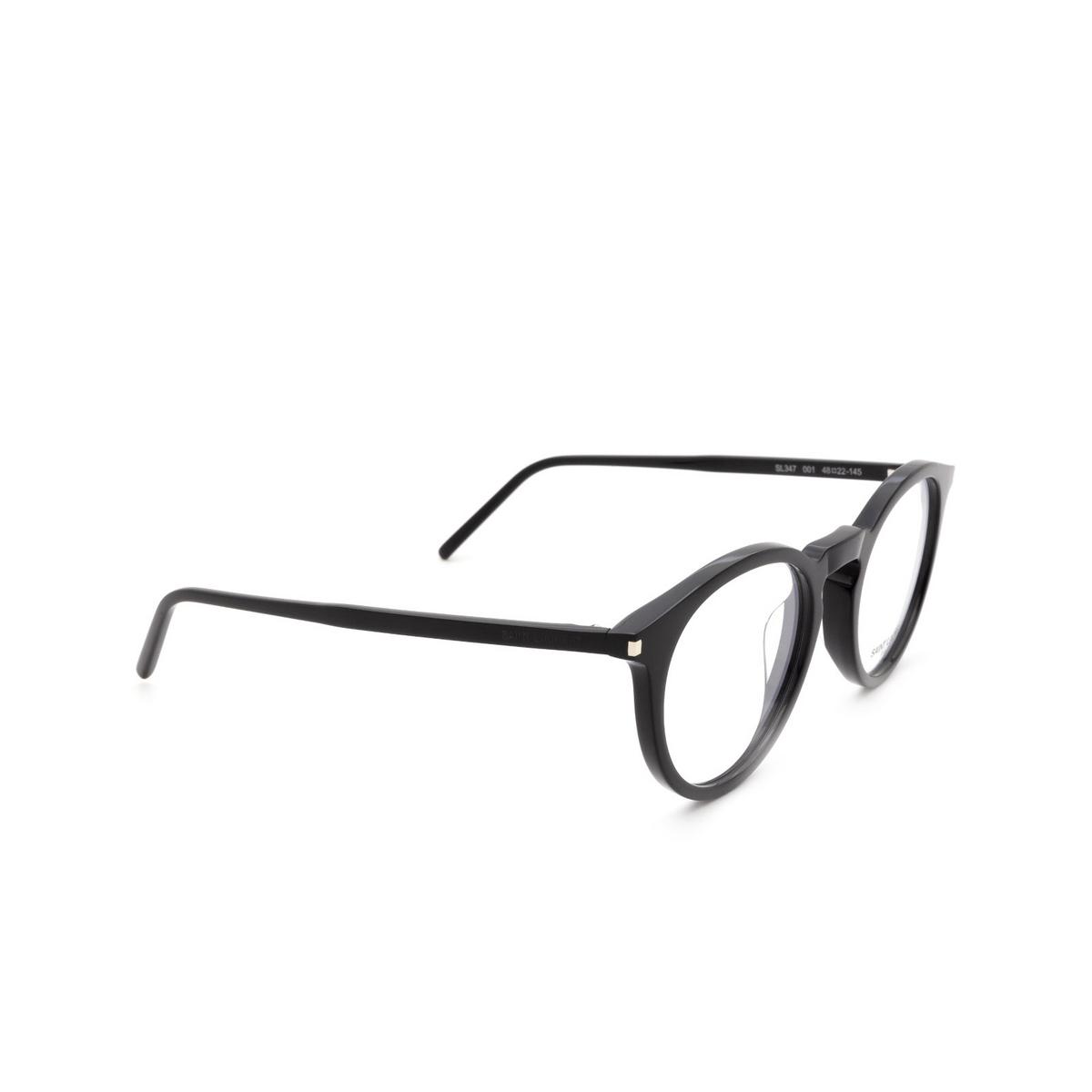 Saint Laurent® Round Eyeglasses: SL 347 color Black 001 - three-quarters view.
