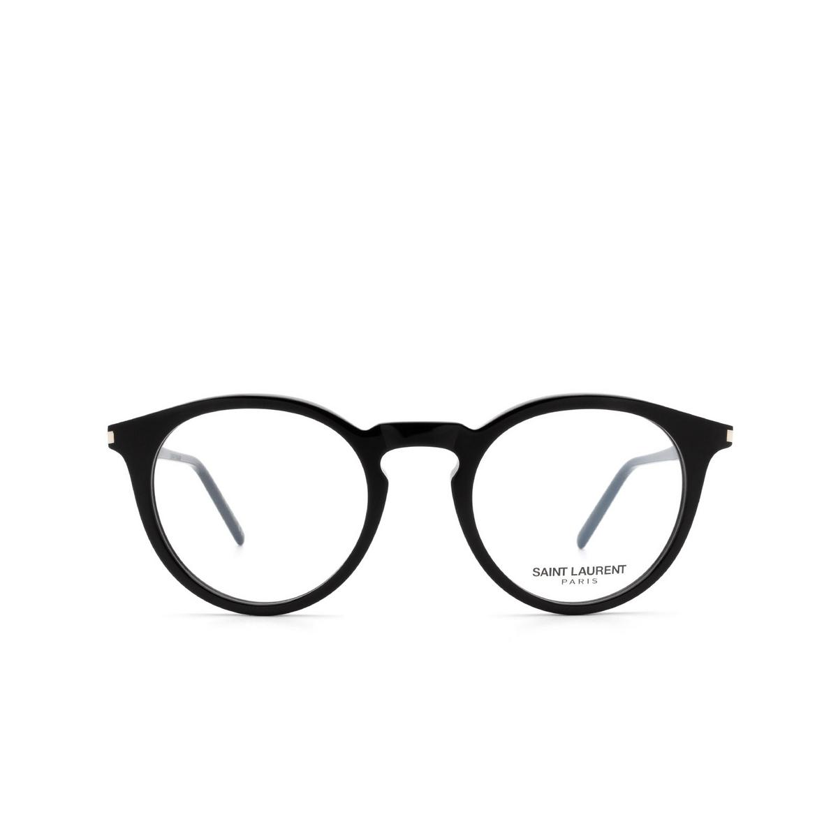 Saint Laurent® Round Eyeglasses: SL 347 color Black 001 - front view.