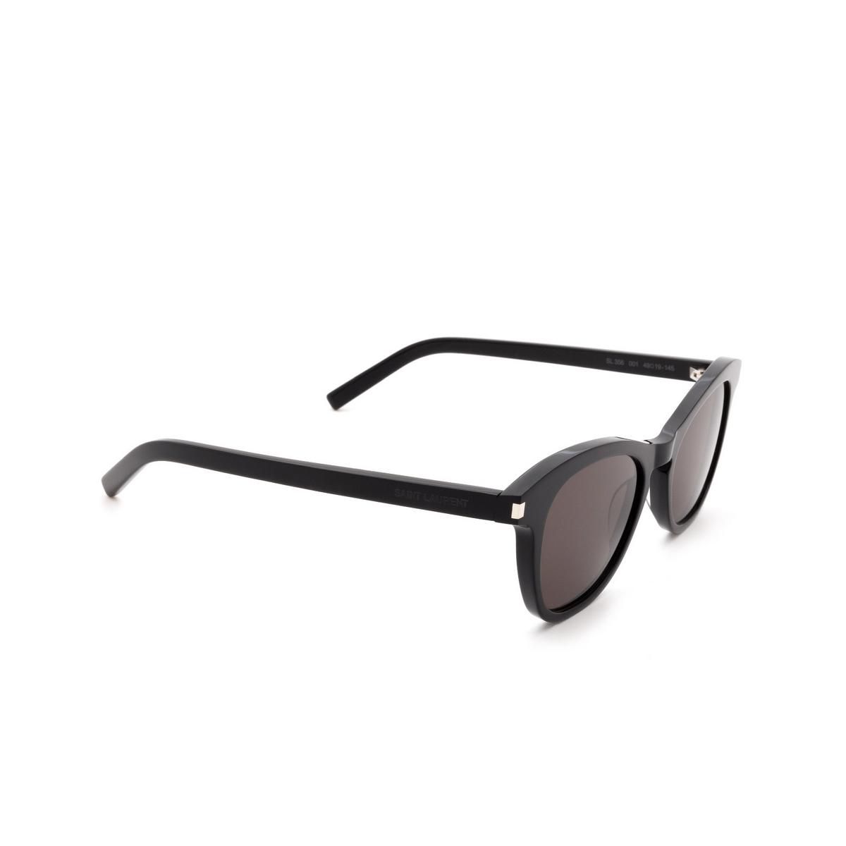 Saint Laurent® Butterfly Sunglasses: SL 356 color Black 001 - three-quarters view.