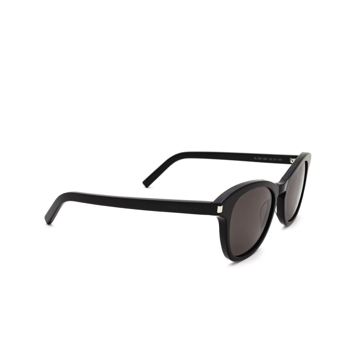 Saint Laurent® Cat-eye Sunglasses: SL 356 color Black 009 - three-quarters view.