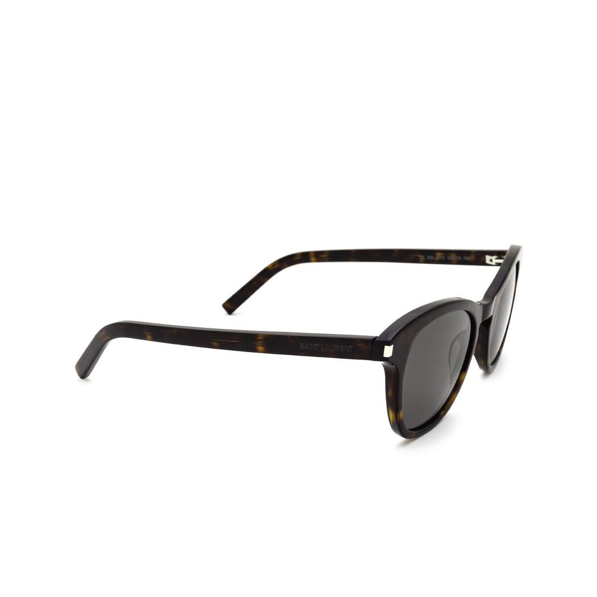 Saint Laurent® Cat-eye Sunglasses: SL 356 color Dark Havana 010 - three-quarters view.