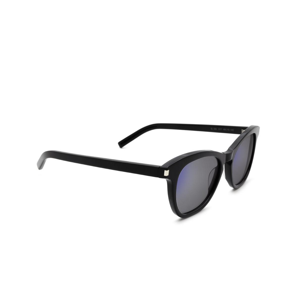Saint Laurent® Cat-eye Sunglasses: SL 356 color Black 017 - three-quarters view.