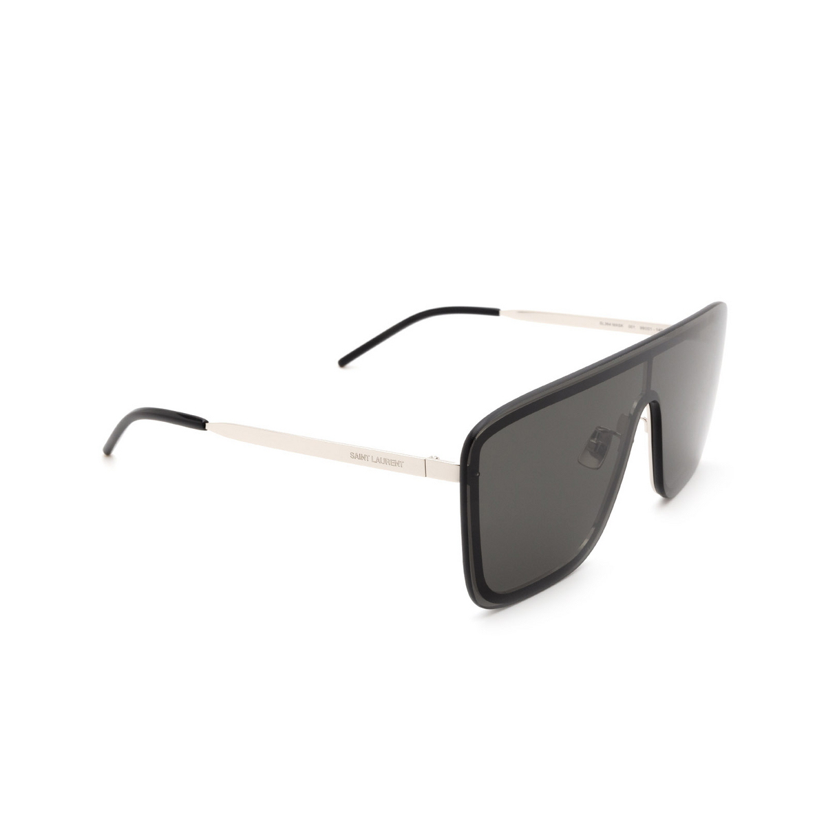 Saint Laurent® Mask Sunglasses: SL 364 MASK color Silver 001 - three-quarters view.